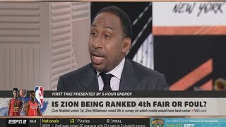 Stephen A. Smith STRONG REACT by NBA Rookie think Reddish will have better career than Zion