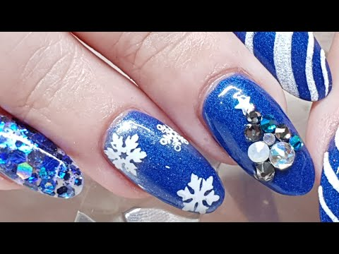 Blue Christmas Nails - Swarovski Tree - Textured Candy cane