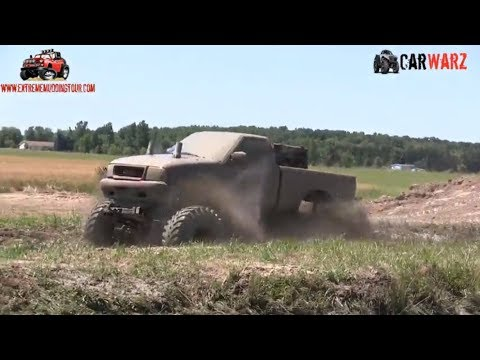 Red GMC Truck Mudding At Red Barn Customs Mud Bog 2018