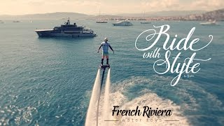 Flyboard around world most beautiful mega yachts on French Riviera