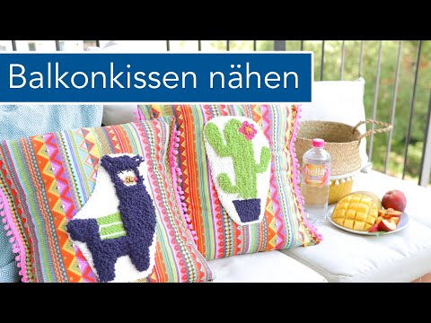 Lama & Kaktus Balkonkissen nähen mit Punch Needle Applikation