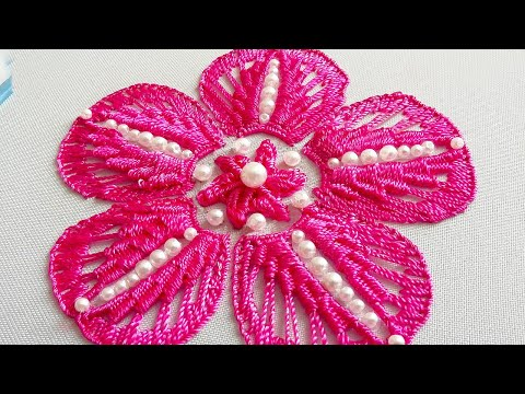 Flower Fantasy Macrame * Amazing Hand Embroidery * Easy beaded embroidery flower #malina_gm