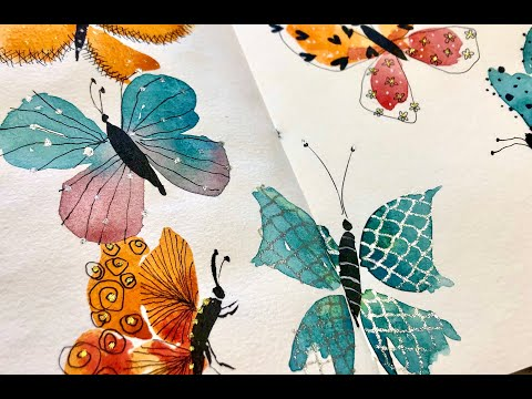 live stream : chat and watercolor and doodle butterflies