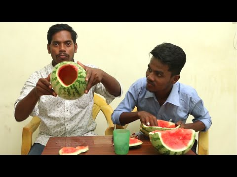 No Knife - No Cutting EATING WHOLE Watermelon COMPETITION | FRUITS EATING CHALLENGE INDIA