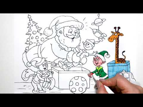 Santa Claus and his Elves coloring pages for kids 0001