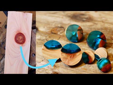 木の節とレジンのピアス How to make wood and epoxy pias from knots. - UCgGz-OXWyoZptPgz1aqXaRQ