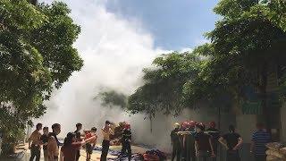 Cháy lớn tại kho chứa nguyên liệu sản xuất giầy da tại Thanh Hóa