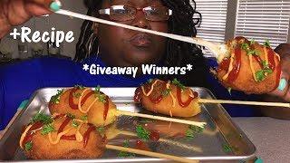GIANT MOZZARELLA CHEESESTEAK CORN DOGS 먹방  MUKBANG + RECIPE *GIVEAWAY WINNERS!*
