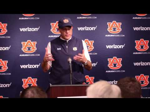 Auburn head coach Gus Malzahn gives a postgame interview following Auburn's 38-14 victory over Mississippi State.