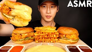 ASMR CHEESY POPEYES CHICKEN SANDWICHES & FRIES MUKBANG (No Talking) EATING SOUNDS | Zach Choi ASMR