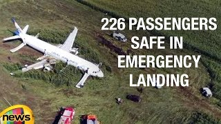 Russian Airbus A321 Ural Airlines Emergency Landing After Bird Strike In Crop Fileds | Mango News