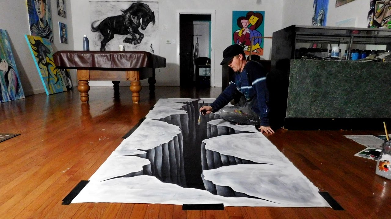 Trick Art On Canvas Painting A Huge 3d Hole Audiomania Lt