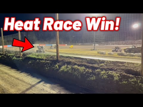 Tanner Holmes RUBBER DOWN HEAT WIN at Southern Oregon Speedway! (Limited Sprint Car) - dirt track racing video image