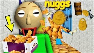 BALDI LOVES EATING CHICKEN NUGGETS!! HE WANTS TO NOM THOSE NUGGS!! | Baldi's Basics MOD: Baldi Nuggs
