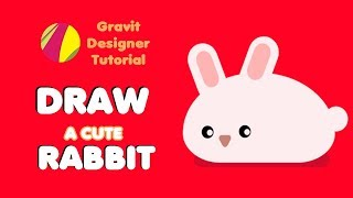 How To Draw a Cute Rabbit, Flat Designs Cute Rabbit, Speed Drawing in GRAVIT DESIGNER 2019