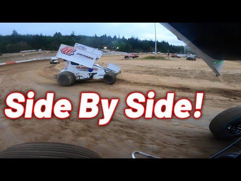 Tanner Holmes SIDEWAYS Sprint Car Onboard at Coos Bay Speedway! - dirt track racing video image