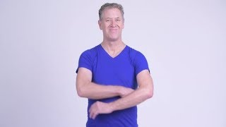 Happy Mature Man Smiling Against White Background | Stock Footage - Videohive