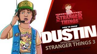 How to draw Dustin Henderson | Stranger things 3 super easy with coloring page