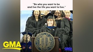 First mom in space shares advice during commencement speech  | GMA