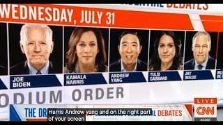 CNN LIVE DEBATE DRAW SUPERCUT: ANDREW YANG, TOP 4, and FINALIZED PODIUM ORDER