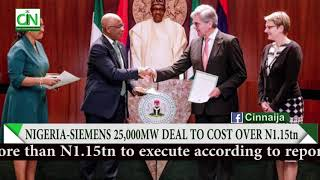 NIGERIA - SIEMENS ELECTRICITY DEAL TO COST MORE THAN N1.15TN - REPORT