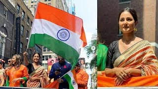 Hina Khan Is A Proud Indian At India Day Parade In New York | First TV Actress To Host Indian Flag