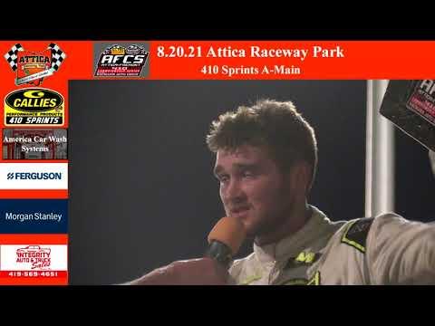 8.20.21 Attica Raceway Park 410 Sprints A-Main - dirt track racing video image