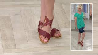 Think! Leather Strap Sandals - Shik on QVC