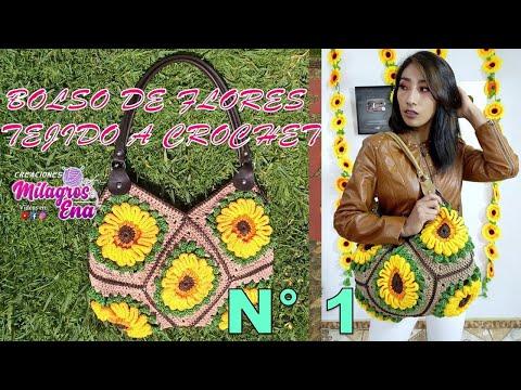 Youtube Bolso De Flores Tejido A Crochet O Ganchillo Paso A Paso