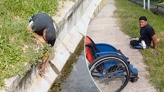 Disabled Man Climbs Out Of Wheelchair To Save Kitten