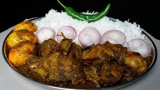 Food Tamarind Chicken and Spicy Egg Curry Eating With Basmati Rice Mukbang