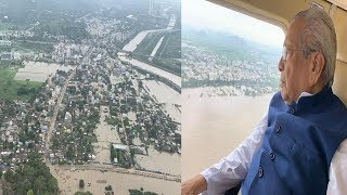 Governor of AP Examining Flood Situation by Helicopter ,Vizag Vision..