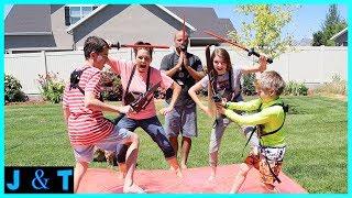 Ninja Warrior - Last To Leave The Water BLOB! (Super Skills Needed!!) / Jake and Ty