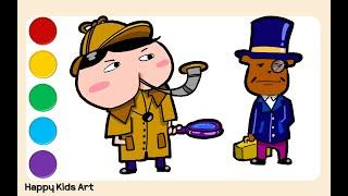 셜록홈즈가 된 엉덩이탐정 그리고 왓슨 브라운 쉽고 재밋는 그림 놀이 | Drawing  Butt Detective Sherlock Holmes Version~