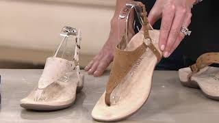 Vionic Suede Studded T-Strap Sandal - Margot Studs on QVC